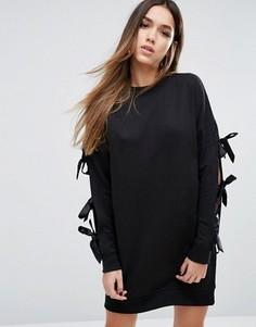 Трикотажное платье с бантами на рукавах Missguided - Черный