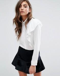 Рубашка с рюшами Miss Selfridge - Белый