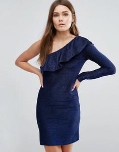 Платье с одним рукавом и оборкой First & I - Синий