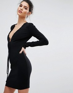 Платье с длинными рукавами и глубоким вырезом Bec & Bridge Warriors Keeper - Черный