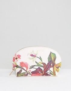 Белая косметичка с цветочным принтом Ted Baker - Розовый
