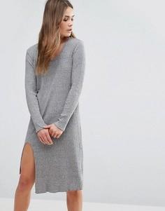 Трикотажное платье миди First & I - Серый