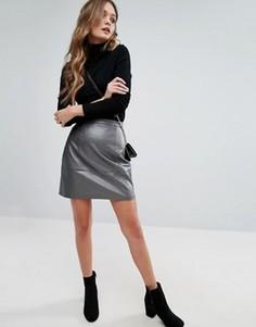 Мини-юбка из искусственной кожи цвета металлик New Look - Серебряный