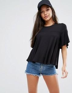 Трикотажная футболка с присборенной отделкой Boohoo - Черный