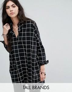 Oversize-рубашка с решетчатым принтом Noisy May Tall - Черный