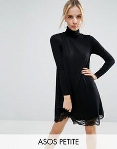 Свободное платье с кружевным низом и воротником-поло ASOS PETITE - Черный