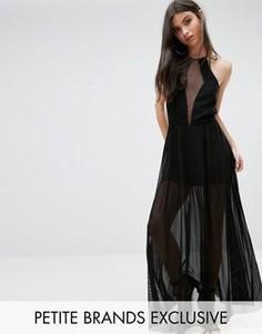 Платье макси с прозрачной сеткой John Zack Petite - Черный