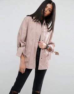Куртка с завязками на рукавах ASOS - Розовый