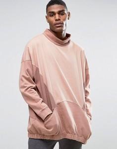 Длинный oversize-свитшот со вставками и ткаными карманами ASOS - Бежевый