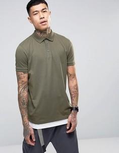 Длинная зеленая футболка-поло с белой вставкой по низу ASOS - Мульти