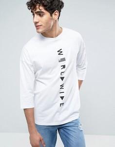 Oversize-футболка с принтом и рукавами 3/4 ASOS - Белый