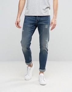 Синие выбеленные прямые джинсы с потертостями Only & Sons - Синий