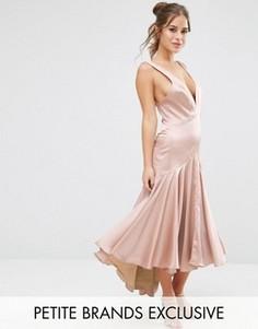 Платье миди со складками и перекрестной спинкой Jarlo Petite - Розовый