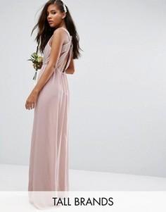 Платье макси с плиссировкой и открытой спиной TFNC Tall - Розовый