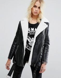 Куртка-авиатор с искусственной овечьей шерстью Goldie Wreckless - Черный