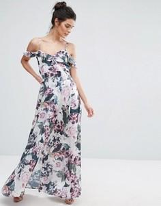 Платье макси с открытыми плечами, оборками и цветочным принтом Vero Moda - Мульти