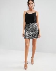 Жаккардовая юбка металлик с леопардовым принтом Helene Berman - Серебряный