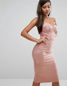 Платье-футляр с топом в стиле корсета и вырезом сердечком Rare - Розовый