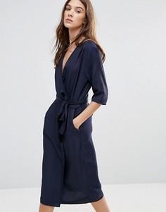 Свободное платье с запахом Neon Rose - Темно-синий