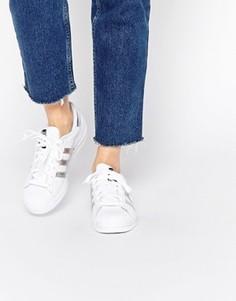 Белые с серебристым кроссовки adidas Originals Superstar - Белый