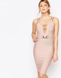 Бандажное платье миди с цепочками Forever Unique - Розовый