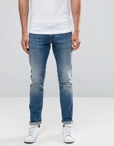 Светлые узкие джинсы стретч с потертостями Armani Jeans J06 - Синий