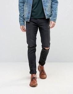 Облегающие рваные джинсы плотностью 12,5 унций ASOS - Черный