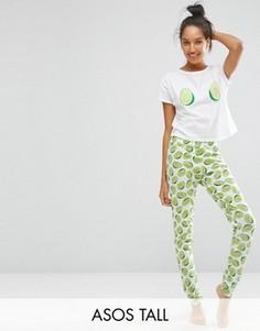 Пижамная футболка и джоггеры с принтом авокадо ASOS TALL - Мульти