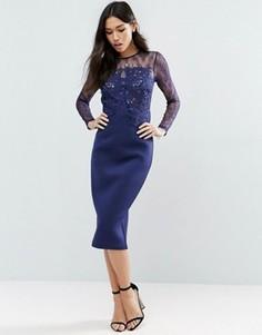 Платье-футляр с длинными рукавами и кружевом ASOS PREMIUM - Темно-синий