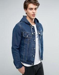 Джинсовая куртка с капюшоном ASOS - Синий