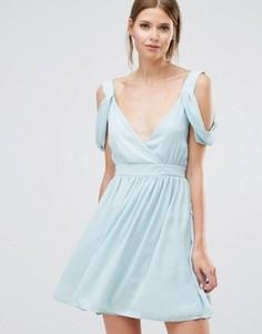 Платье мини с открытыми плечами Oh My Love - Зеленый