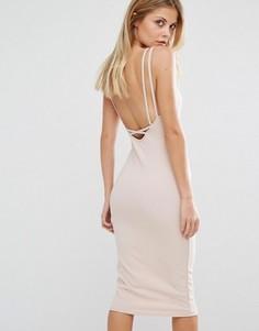 Платье миди с перекрестными бретельками Oh My Love - Розовый