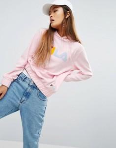 Махровый oversize-худи с цветным логотипом Fila - Розовый