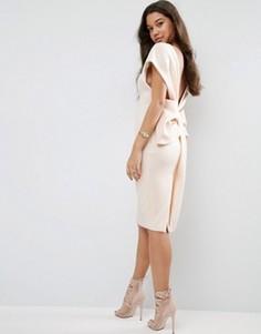 Платье миди с бантом сзади ASOS Premium - Кремовый