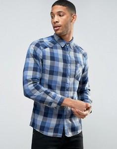 Узкая рубашка в клетку Esprit - Темно-синий
