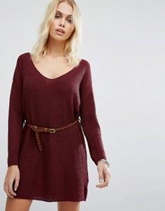 Вязаное платье-джемпер с ремнем Goldie No Other Way - Красный