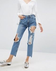 Рваные джинсы в винтажном стиле со ступенчатым краем ASOS ORIGINAL - Синий