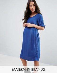 Платье для беременных с завязками на рукавах Mamalicious - Синий Mama.Licious