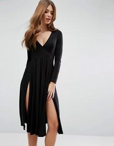 Платье миди с запахом спереди и двумя разрезами ASOS - Черный