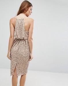 Платье миди с драпировкой сзади ASOS - Бежевый