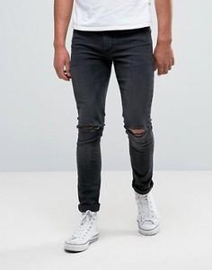 Темно-серые супероблегающие джинсы с дырками на коленях ASOS - Серый