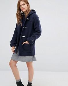 Пальто-дафлкот с капюшоном и пуговицам моржовый клык YMC - Темно-синий