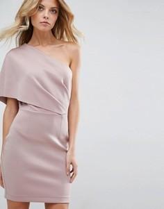 Платье мини на одно плечо ASOS - Розовый