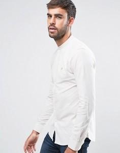Бежевая оксфордская рубашка с 2-цветным плетением Farah Steen - Бежевый