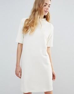 Белое цельнокройное платье Ganni Thompson - Белый