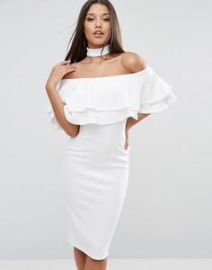 Платье миди с чокером, широким вырезом и двойной оборкой Club L - Белый