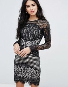Кружевное облегающее платье мини со вставками Forever Unique - Черный