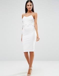 Платье миди с накладкой кроше AX Paris - Кремовый