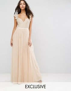 Платье макси из тюля с рюшами на рукавах Needle & Thread Swan - Розовый