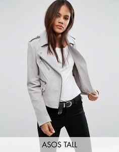 Замшевая байкерская куртка ASOS TALL - Серый